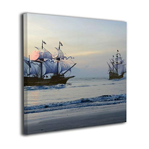 Canvas Wall Art Prints Sailboats Seascape Yacht Against The Roaring Waves Of The Ocean At Sunrise,Nautical Sea Artwork Picture Paintings Home Decoration Artwork Wood Frame Gallery Stretched 20