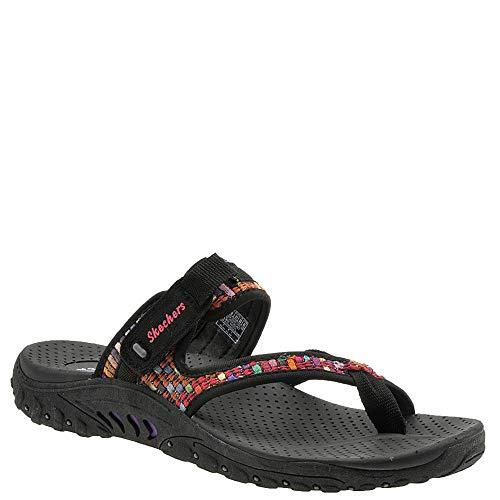 Skechers Women's Reggae-MAD Swag-Toe Thong Woven Sandal, Black, 8 M ()