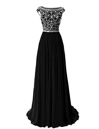 Tidetell Elegant Floor Length Bridesmaid Cap Sleeve Prom Evening Dresses Black Size 2