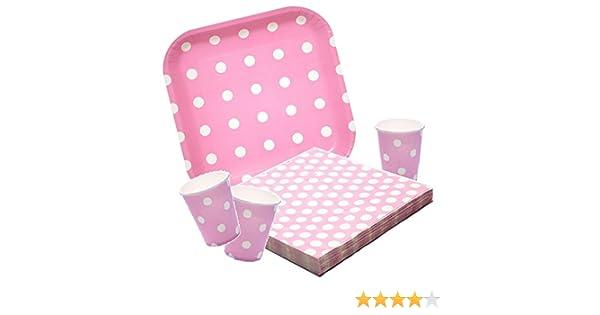 Platos,Vasos y Servilletas Desechables Cumpleaños Niña. 40 piezas Set de Fiesta Cumpleaños Infantil. Vajilla desechable lunares rosa