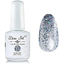 Silver glitter gel nail polish, Beau Gel UV LED Clear Nail Art 15ml (329)