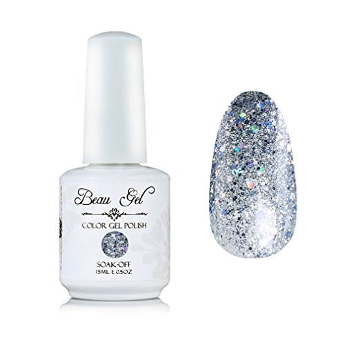 Silver glitter gel nail polish, Beau Gel UV LED Clear Nail A