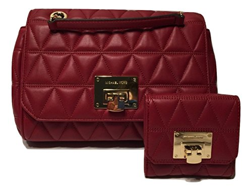 MICHAEL Michael Kors Vivianne MD Shoulder Flap Quilted Handbag bundled with Michael Kors Vivianne Trifold Wallet (Cherry)