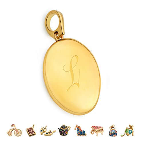 14k Charm Oval Bracelet (CHARMULET 14k Plated Gold Oval Initial Locket Letter L - Compatible with Charm Bracelet by Charmulet - Gift Box Included …)