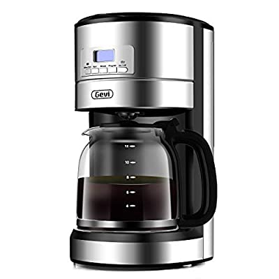 12-Cup Programmable Coffee Machine, Drip Coffee Machine with 24h reservation function, Spray Drip Extraction, 1.8L Clear Water Tank, Warming Plate, Auto-off function, Removable Filter, Silver, 900W