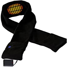 Heated Scarf Battery Operated For Men And Women – Black Electric Warming Scarf With Pockets By Ideas In Life
