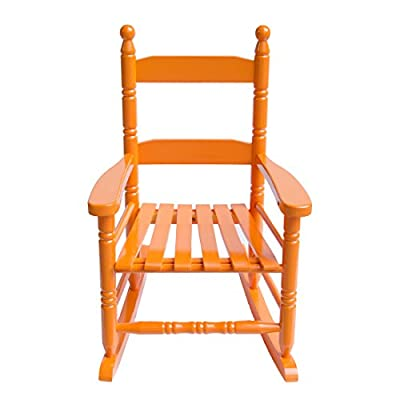 "Caymus Classic Kid's Rocking Chair, Solid Wood,Orange - COMFORTABLE:14.7 x 18.5 x 22.6 inch. 2"" wide armrest, 23"" high backrest, 12"" wide seating, provides kids with a safe and completely relaxed rest experience Ages 1-4. Modern furniture heavy-duty structure to withstand kids' body Tested and in Compliance with Consumer Product and Safety Improvement Act for lead and other toxins. - patio-furniture, patio-chairs, patio - 41BNA1YxifL. SS400  -"