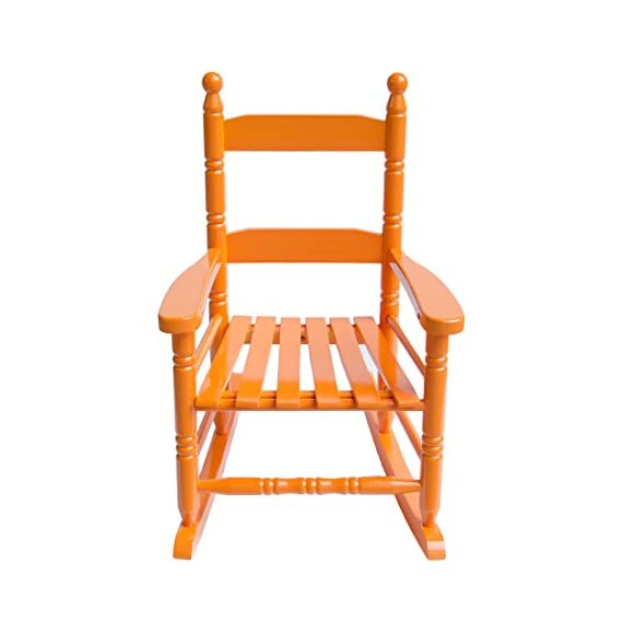 "Caymus Classic Kid's Rocking Chair, Solid Wood,Orange - COMFORTABLE:14.7 x 18.5 x 22.6 inch. 2"" wide armrest, 23"" high backrest, 12"" wide seating, provides kids with a safe and completely relaxed rest experience Ages 1-4. Modern furniture heavy-duty structure to withstand kids' body Tested and in Compliance with Consumer Product and Safety Improvement Act for lead and other toxins. - patio-furniture, patio-chairs, patio - 41BNA1YxifL. SS570  -"