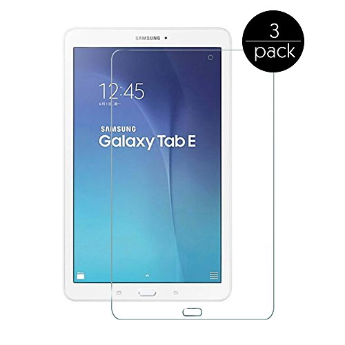 FanTEK Screen Protector for Samsung Galaxy Tab E 9.6 / Nook SM-T560 T561 T565 T567V (Verizon 4G LTE Version) 9.6-Inch Tablet - 3 Pack Ultra Thin Crystal Clear High Definition Anti-Bubble Cover Guard
