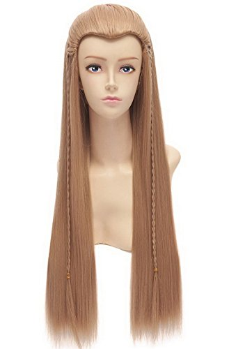 [Halloween Costumes Mens Elf Long Straight Wig Party Hair Light Brown] (Legolas Halloween Costume)