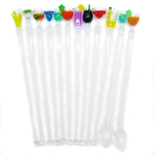 Swizzle Stick Set (kilofly Party Swizzle Sticks Assorted Value Pack [Set of 10 + 2 Spoon Swizzle Sticks], 8.8 inch, Summer Cocktail)