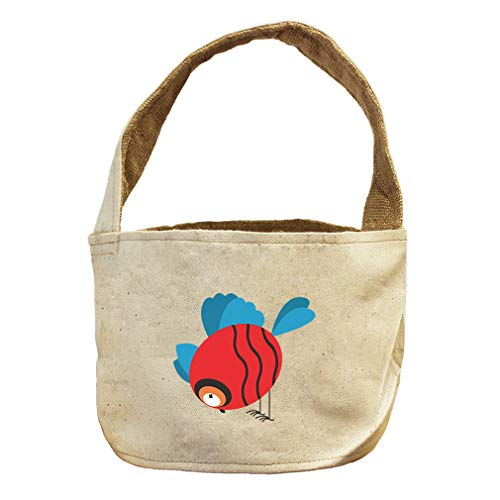 Style in Print Round Bird Eating from Ground Animals Canvas and Burlap Storage Basket by Style in Print