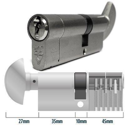 Anti-Snap Thumb-Turn Euro Cylinder Door Lock Barrel 35T-10-45 (90mm) Nickel - TS007 by HomeSecure