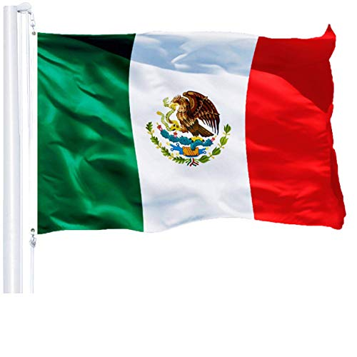 G128 - Mexico (Mexican) Flag | 3x5 feet | Printed 150D - Indoor/Outdoor, Vibrant Colors, Brass Grommets, Quality Polyester, Much Thicker More Durable Than 100D 75D Polyester
