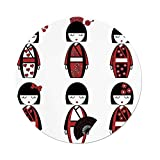 iPrint Polyester Round Tablecloth,Girls,Unique Asian Geisha Dolls in Folkloric Costumes Outfits Hair Sticks Kimono Art Image,Black Red,Dining Room Kitchen Picnic Table Cloth Cover Outdoor Indoor