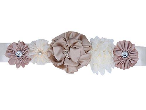 LD DRESS Handmade Flower Sash Belt for Maternity Pregnancy Baby Shower Wedding Party (Color 4), 1.8'' x 91 ''