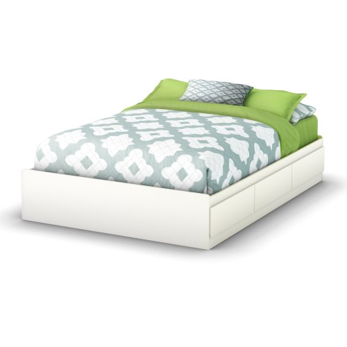 South Shore Storage Full Bed Collection 54-Inch Full Mates Bed, Pure White by South Shore