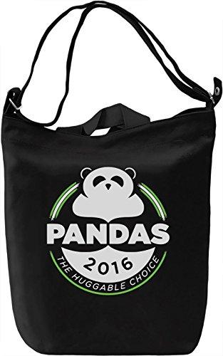 Pandas Borsa Giornaliera Canvas Canvas Day Bag| 100% Premium Cotton Canvas| DTG Printing|
