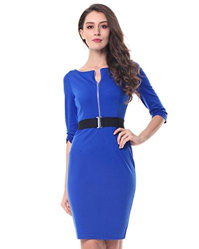 Oficina con Fiesta Manga Kenancy 4 Mujer Vestidos Cinturón Lápiz Bodycone Elegante S 3XL Trabajo de 3 Falda Vestido Azul Midi xgx6Fq