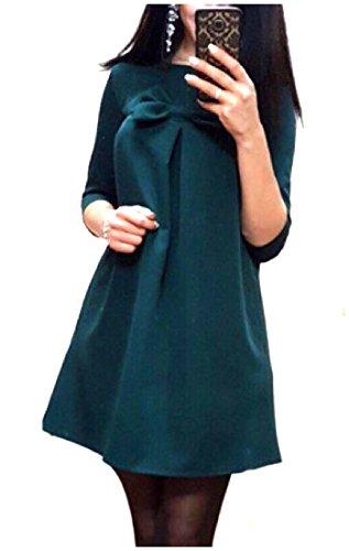 Confortables 1/2 Manches Longues Femmes Arc Col Rond Couleur Unie Mini Robe Verte