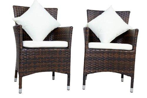 OUTFLEXX Sessel aus Polyrattan inkl Polster und Kissen 2er Set in braun marmoriert