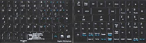 ENGLISH UK KEYBOARD STICKERS WITH ADDITIONAL KEYS NON TRANSPARENT BLACK BACKGROUND