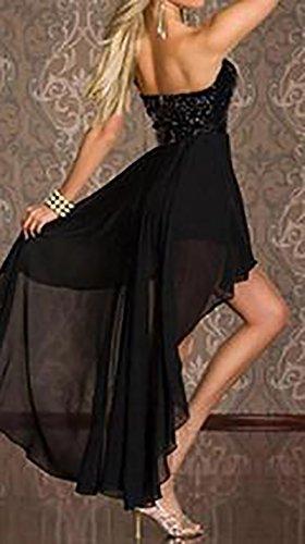 Sera Chiffon Vestito Nero Pieghe Sposa Impero Donna Asimmetrico Estivi Vita Bandeau Abito Lunghi A Vestiti Eleganti Abiti Cerimonia Basso Alto Sundresses Da Alta a5awSIHq