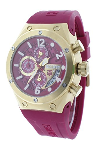 Technosport TS-820-4 Women's Chronograph Gold & Dark Pink Watch Silicone Strap GMT