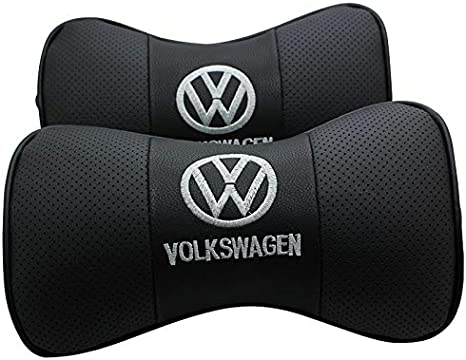 Auto Sport 2 PCS Genuine Leather Bone-Shaped Car Seat Pillow Neck Rest Headrest Comfortable Cushion Pad with Logo Pattern fit Vo-lkswagen Accessory