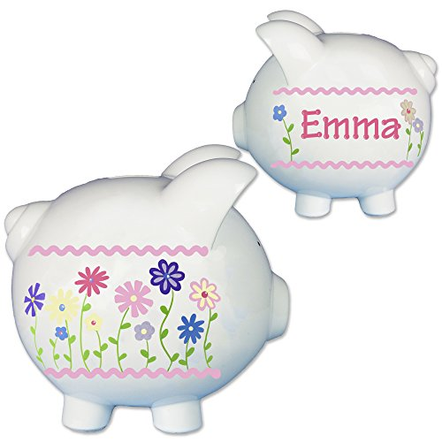 Bank Pink Flower (Hand Painted Personalized Piggy Bank for Girls - Ceramic Stemmed Flowers Piggybank Large White)
