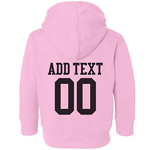 Custom Name Number Jersey Toddler Hoodie: Toddler Hooded Sweatshirt Pink