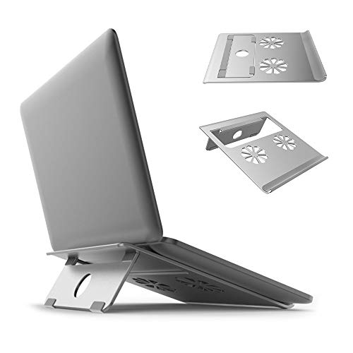 Laptop Notebook Stand,Aluminum Ventilated Support Foldable and Portable Universal Desktop Holder for Apple MacBook, Air, Pro Up to 17(Silver,Large)-2018 Upgrade