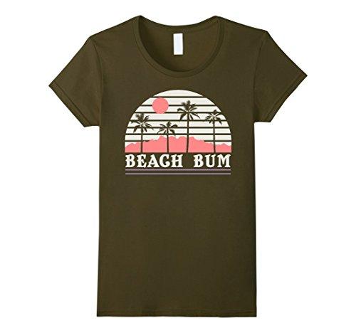 Womens Beach Bum Palm Tree Silhouette Stripes Vintage T-Shirt Medium (Palm Beach Stripe)