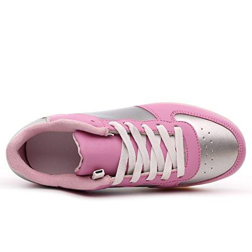 KALEIDO ShinyNight USB Lade 11 Farben LED Leuchten Schuhe Mode Turnschuhe Sportschuhe Für Herren Frauen Mädchen Jungen Rosa