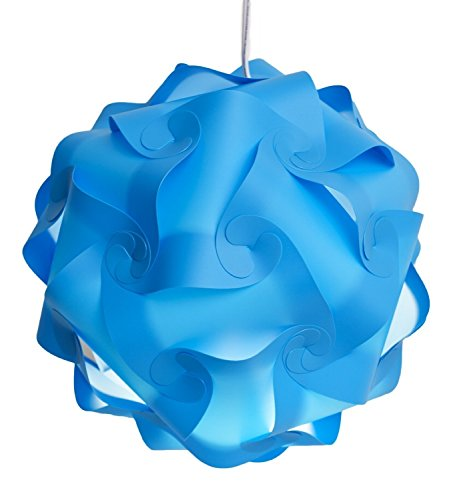 Puzzle Lights with Lamp Cord Kits , Self DIY Assembled Puzzle Lights Mordem Lampshade Iq Lamp Shades M Size (Home Decor Light) (Blue)