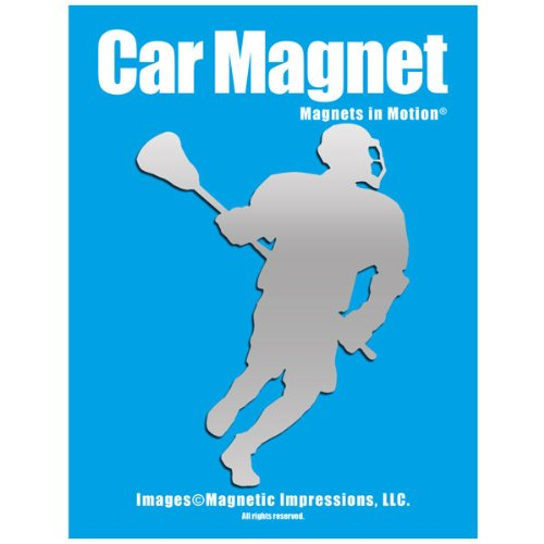 Lacrosse Male Player Car Magnet Chrome