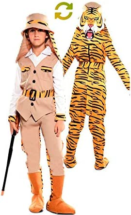 EUROCARNAVALES Disfraz Doble de Cazador y Tigre para niños: Amazon ...