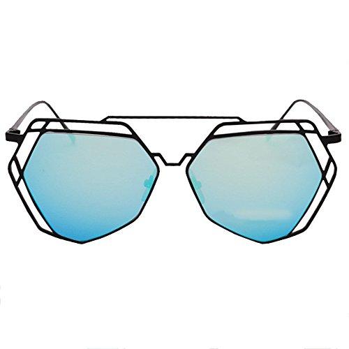 de hacia Viaje Metal de de Aviador Gafas Negro de Fuera LVZAIXI Sol Marco Ahueca Azul de Conducción Sunglasses Verano Polígono Moda Retro Color PxgwXzxq6