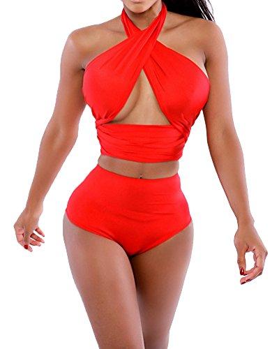 Mujer Escala Push Up De Talle Alto Bikini Bañador Bañadores Vendaje Trajes De Baño Rojo