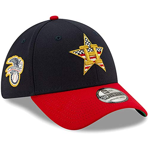 (New Era Houston Astros 2019 Stars & Stripes 4th of July 3930 39THIRTY Flexfit Cap Hat (M/L) - M/L)