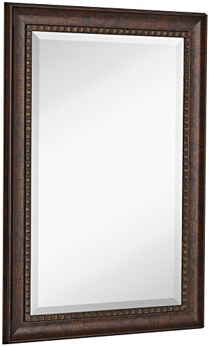Hamilton Hills New Large Transitional Rectangle Wall Mirror Luxury Designer Accented Frame Solid Beveled Glass Made in USA Vanity, Bedroom, or Bathroom Hangs Horizontal or Vertical