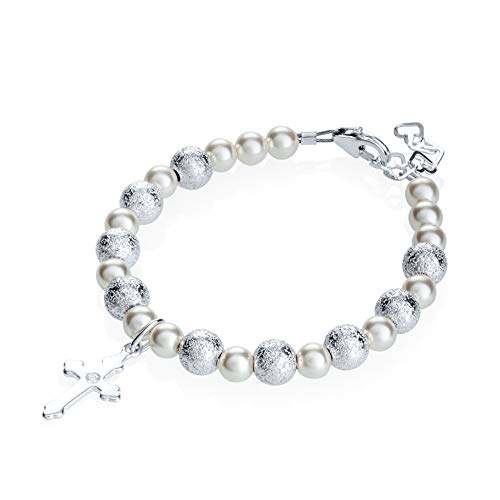 Sterling Silver Cross Charm Bracelet for Kids - with Swarovski Simulated Pearls and Silver Glitter Beads - Best First Communion Gift for Boys and Girls