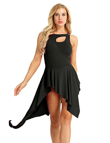 (CHICTRY Women Crew Neck Lyrical Ballet High Low Dance Dress Leotard Costume Black X-Large)