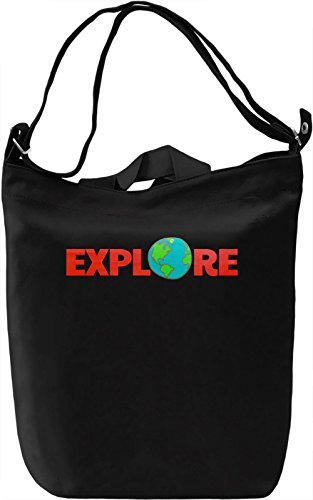 Explore The Globe Borsa Giornaliera Canvas Canvas Day Bag| 100% Premium Cotton Canvas| DTG Printing|