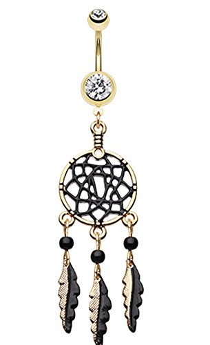 Golden Colored Black Dreamcatcher Belly Button Ring - 14 GA (1.6mm) - Clear - Sold Individually