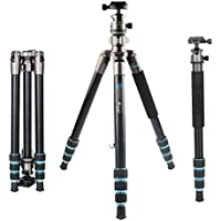 BONFOTO Portable Aluminum Alloy B674A Lightweight Camera Travel Tripod Monopod with Ball Head for DSLR (Bronze Grey)