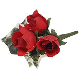 Darice VL3079, Mini Rose Buds Boutiner with Ivy, 4-Inch, Red 38