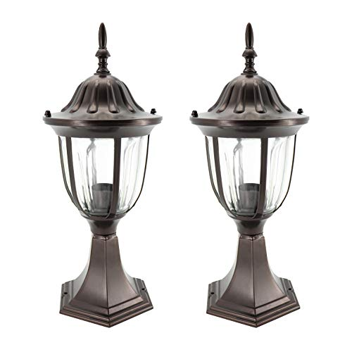 (IN HOME 1-Light Outdoor Garden Post Lantern L03 Lighting Fixture, Traditional Post Lamp Patio with One E26 Base, Water-Proof, Bronze Cast Aluminum Housing, Clear Glass Panels, (2 Pack) ETL)