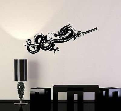 Vinyl Decal Chinese Dragon Samurai Sword Warrior Wall Stickers Mural (Chinese Tree Dragon)
