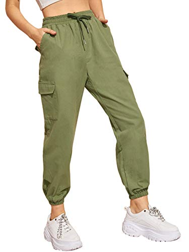 Milumia Women's Elastic Cargo Pants Drawstring Waist Active Workout Jogger Trousers with Pocket Green L